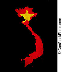 Vietnam outline map with grunge flag