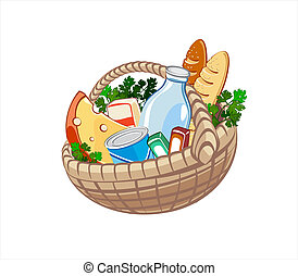 Wicker basket with dairy products, bake and other food