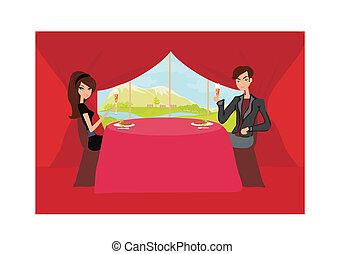 Young couple flirt