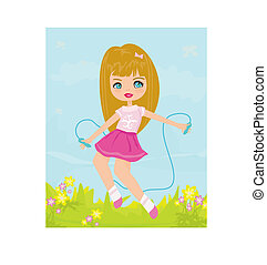 girl playing with a jump rope