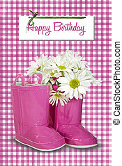 daisies in birthday boots