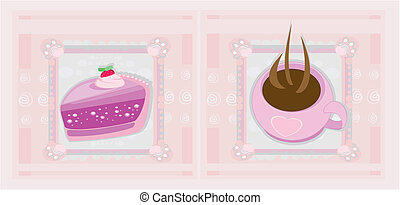 Lovely Pattern With cake and coffee
