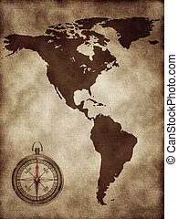 A map North and South America - A map with a compass North...