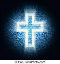 Glowing cross on a background of mosaic