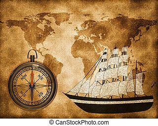World map with ship