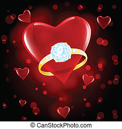 red hearts and diamond ring