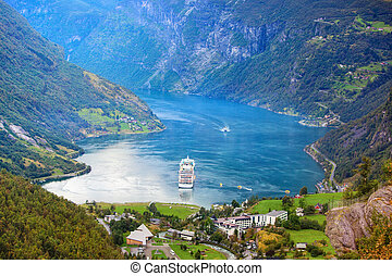 Geiranger fjord - Norway Geiranger fjord View from mountain...