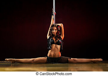 Pole dance woman - Young sexy pole dance woman