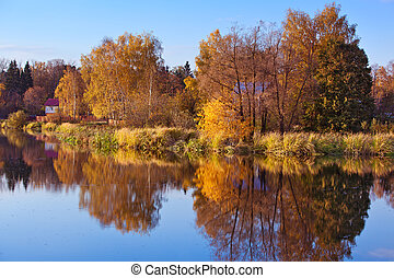 Autumn landscape with river in Russia.