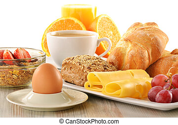 Breakfast with coffee, rolls, egg, orange juice, muesli and...