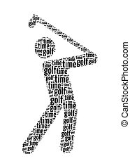 golf time text on golf swing graphic and arrangement concept