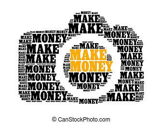 make money text on dslr camera graphic and arrangement...