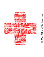 rescue text on cross symbol  graphic and arrangement concept