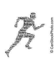 Fast delivery words on man running symbol, symbolizing...