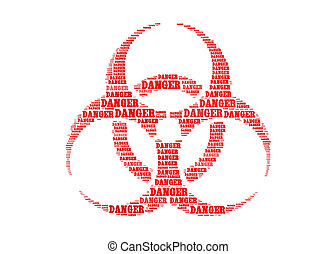 danger text on biohazard symbol graphic and arrangement...
