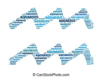 Text cloud: silhouette of aquarius