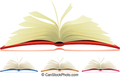 Open Book Set - Illustration of a set of cartoon opened...