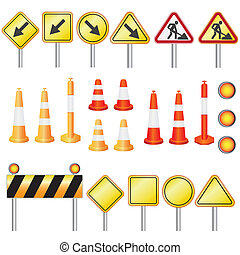 Road work. - Set of equipment for road work on the white...