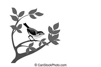 bird silhouette on wood branch,
