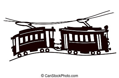 tram silhouette on white background,