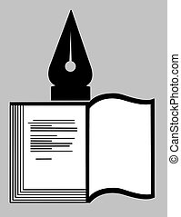 book silhouette on gray background,
