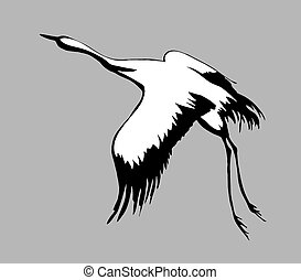 crane silhouette on gray background,