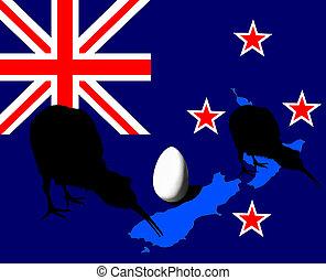 Kiwi bird, egg silhouette, NZ flag - Silhoette of the Kiwi...