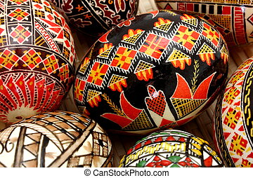 hand painted eggs - traditional hand painter eggs in a...