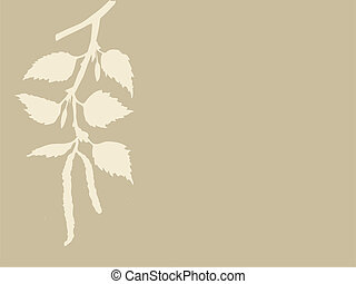 birch branch on brown background, vector illustration