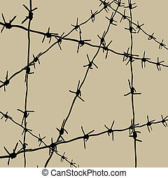 barbed wire on brown background, vector illustration