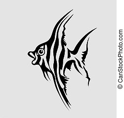 fish silhouette on gray background, vector illustration