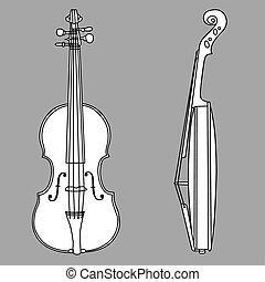 violon, silhouette, gris, fond, vecteur, Illustration