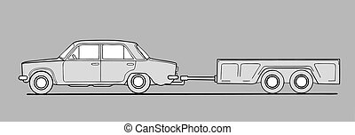 car with trailor on gray background, vector illustration