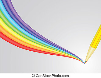 pencil drawing rainbow vector illustration