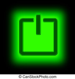 power button - picture of power button against black...