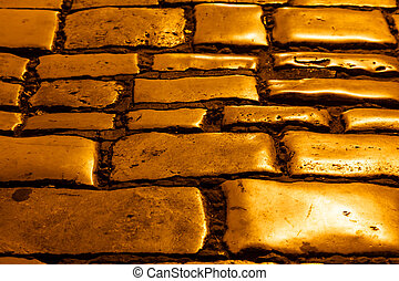 Illuminated Golden Cobblestones of Rovinj, Croatia