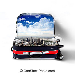 Red suitcase with city inside - Red suitcase with city on...