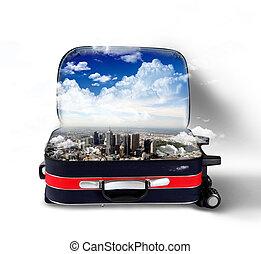 rouges, valise, ville, intérieur