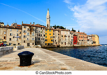 The Pier and the City of Rovinj on Istria Peninsula in...