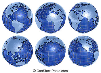 Globe Six Sides - The globe of the Planet Earth in six sides...