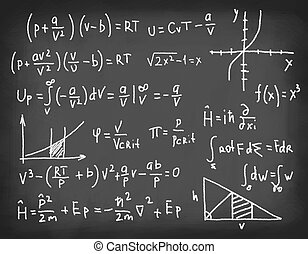 Equations on blackboard. - Equations and formulas written in...