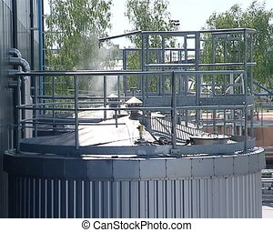factory vapor smoke - biodiesel and rape oil factory...