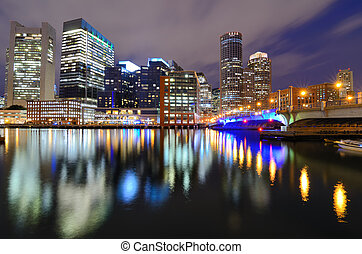 Boston Skyline from Harborwalk - Financial District of...