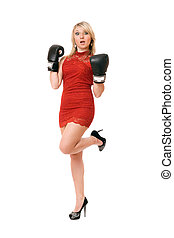 Pleasing blond woman in boxing gloves