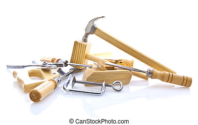 woodworking hand tools on white background