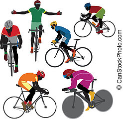 Cyclists - Silhouettes bicyclist Vector for you design
