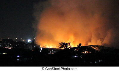 Fire Burns Trees Fields At Night - Wild fires burn out of...