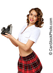 Woman dressed in retro style with camera - Young pretty...