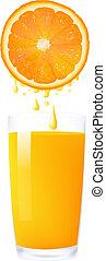 Orange Juice From Orange Into Glass, Isolated On White...