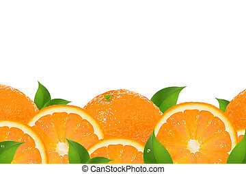 Slices Of Orange Border, Isolated On White Background,...